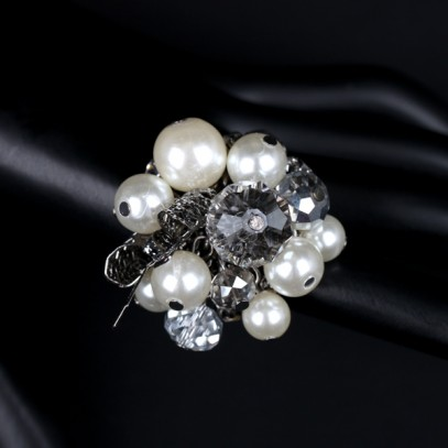 Prstan SILVER PEARL-CRYSTAL BOUQUET